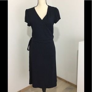 BODEN Blue Wrap Dress Jersey Knit Stretch Sz 12R